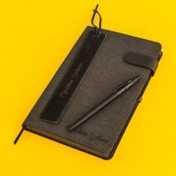 مجموعة هدايا قلم ودفتر فاخر بالاسم