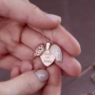 قلادة القلب الفضية